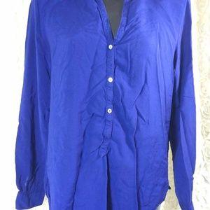 Zara Woman M Blue button down v neck long sleeve t